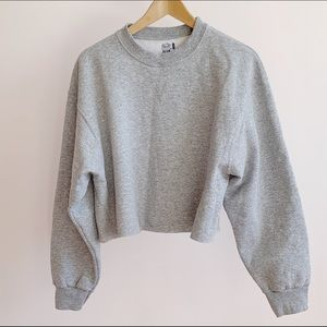 Sweaters - Super soft oversize cropped fleece knit crewneck